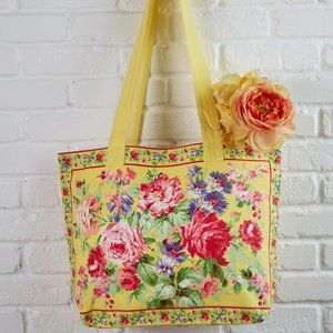 April Cornell Cottage Rose Tote Bag Market Bag NWT